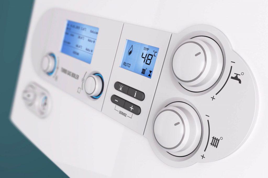 Gas boiler control panel close up image